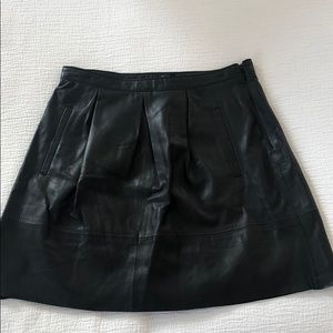 Broadway & Broome Pleated Leather Skirt